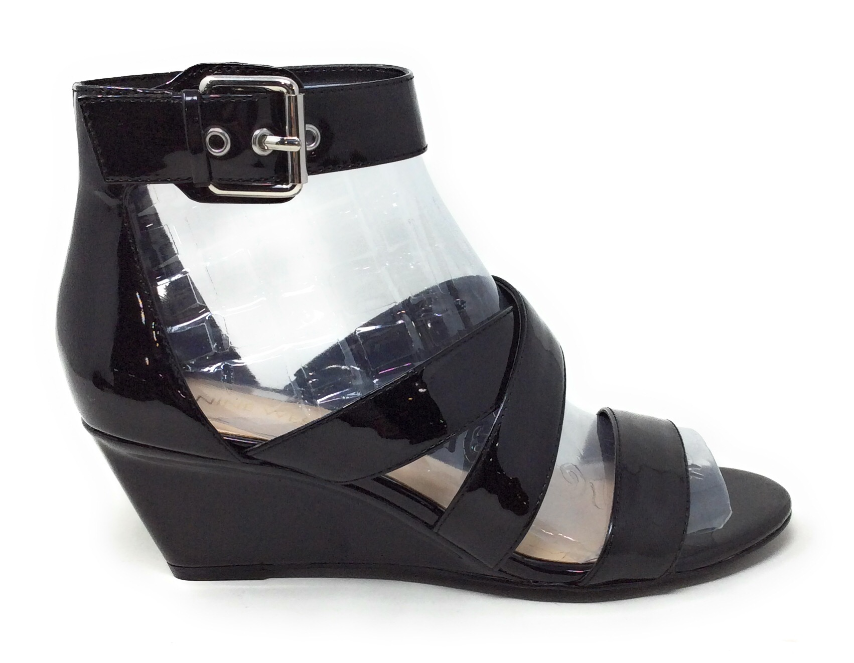 Details about Nine West Womens Piwow Wedge Sandals Faux Patent Black Size 7.5 M US