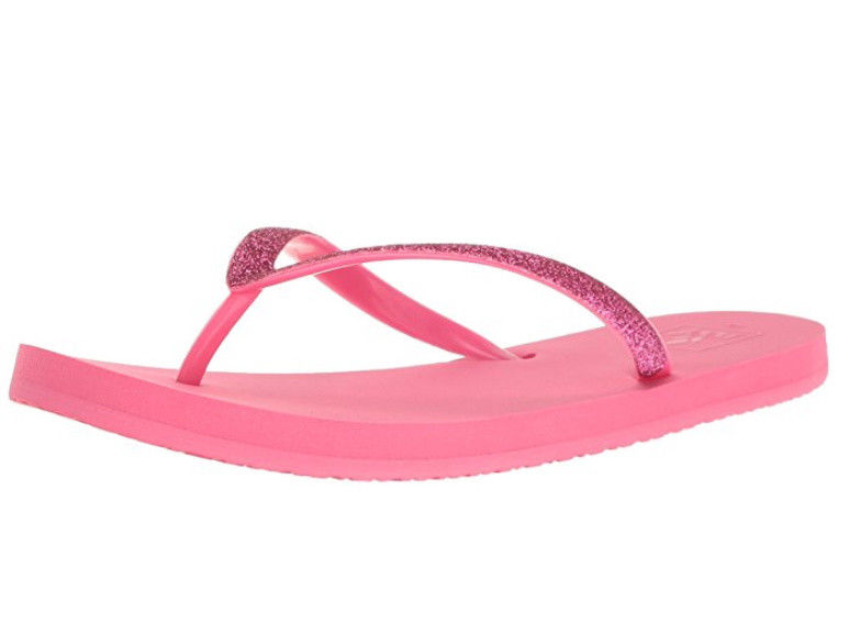 NWT Toddler girls Reef Little Stargazer thong sandals w// back strap pink glitter