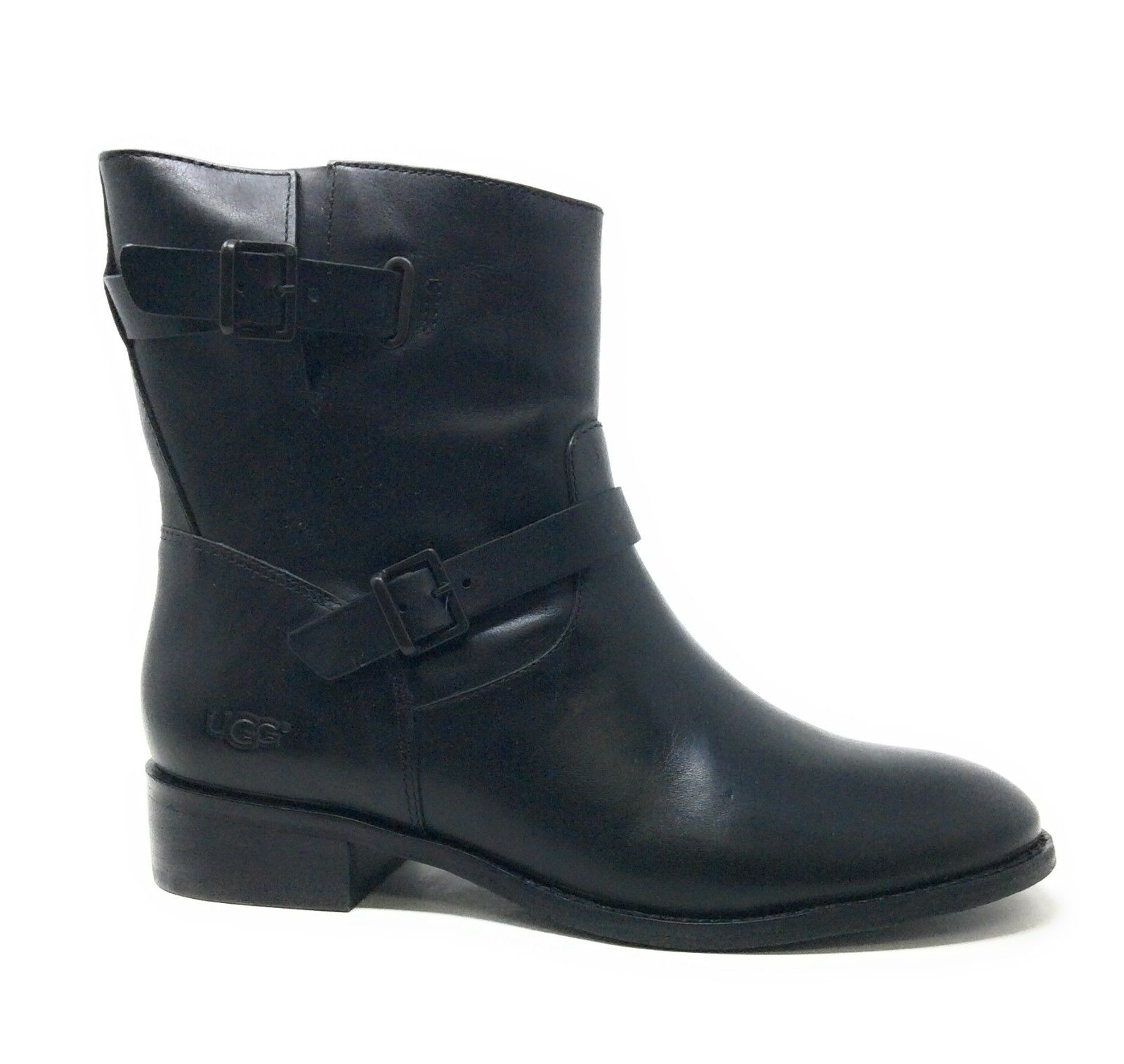 UGG Womens Fletcher Motorcycle Short Boot Water Resistant Black Leather 6.5