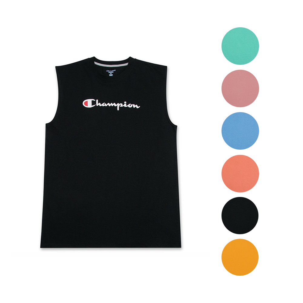 f7470a34c57f Champion Mens Big and Tall Jersey Muscle Tee with Script Champion ...