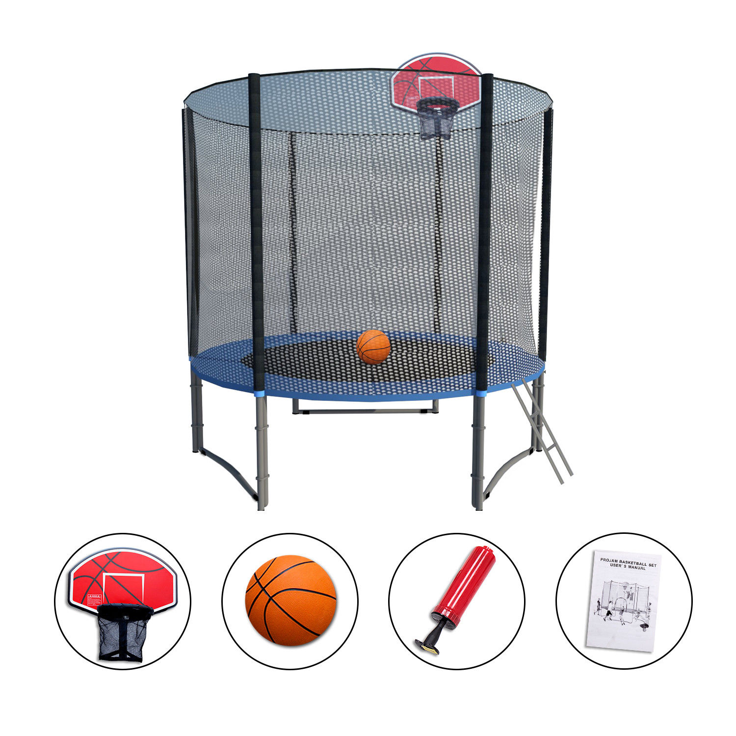 8'-16' Round Trampoline Combo Safety Pad, Enclosure Net