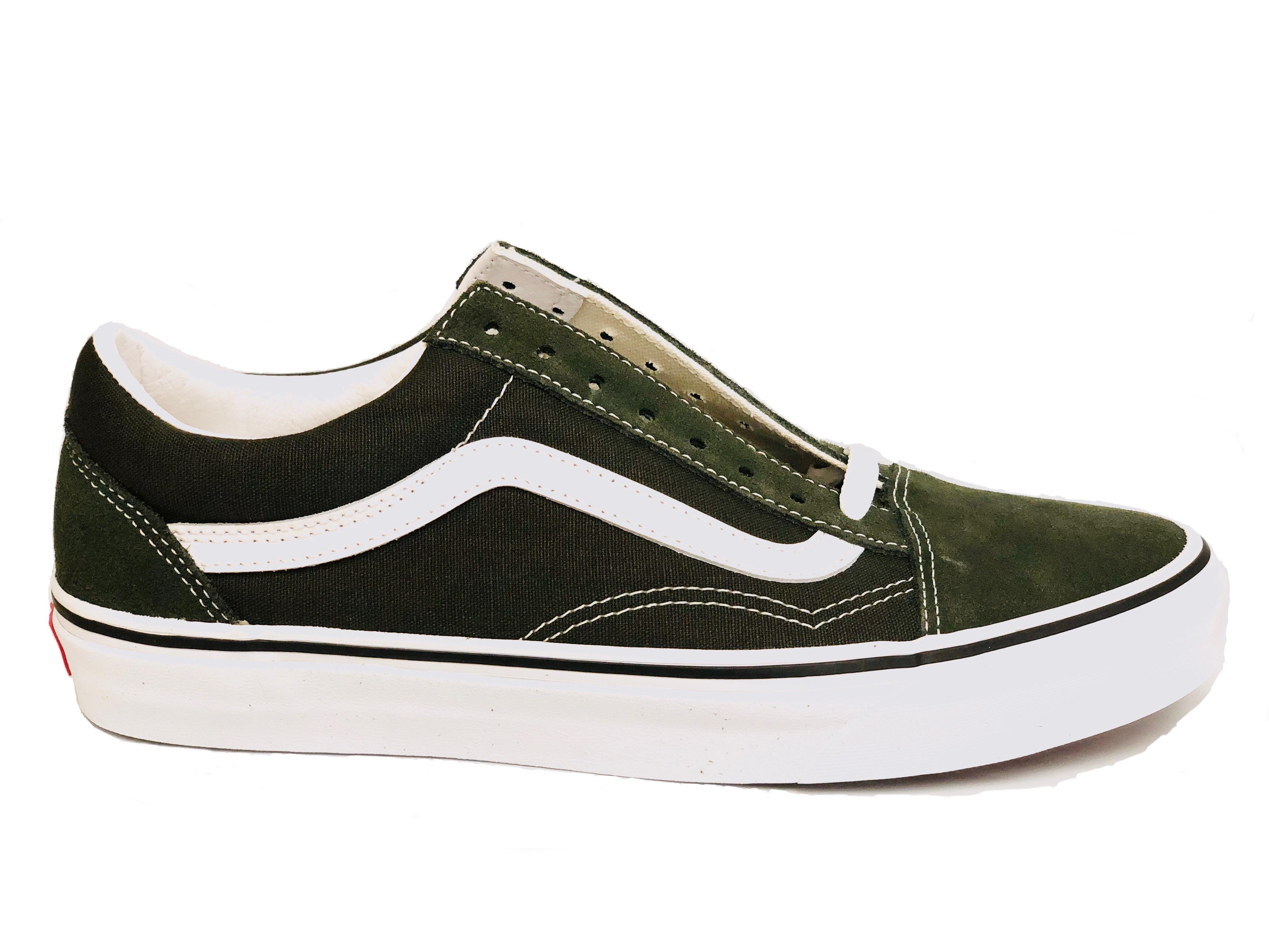 Details about Vans Men's Old Skool Sneakers, Forest Night True White Dark Green