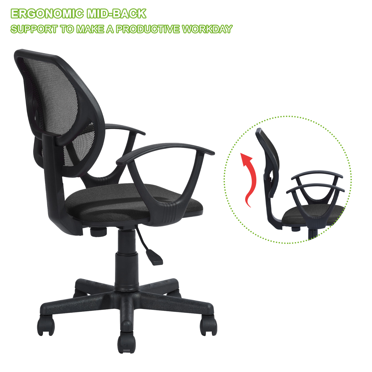 Details about Mesh Mid-Back Office Chair Executive Computer Ergonomic Desk  Seat Swivel