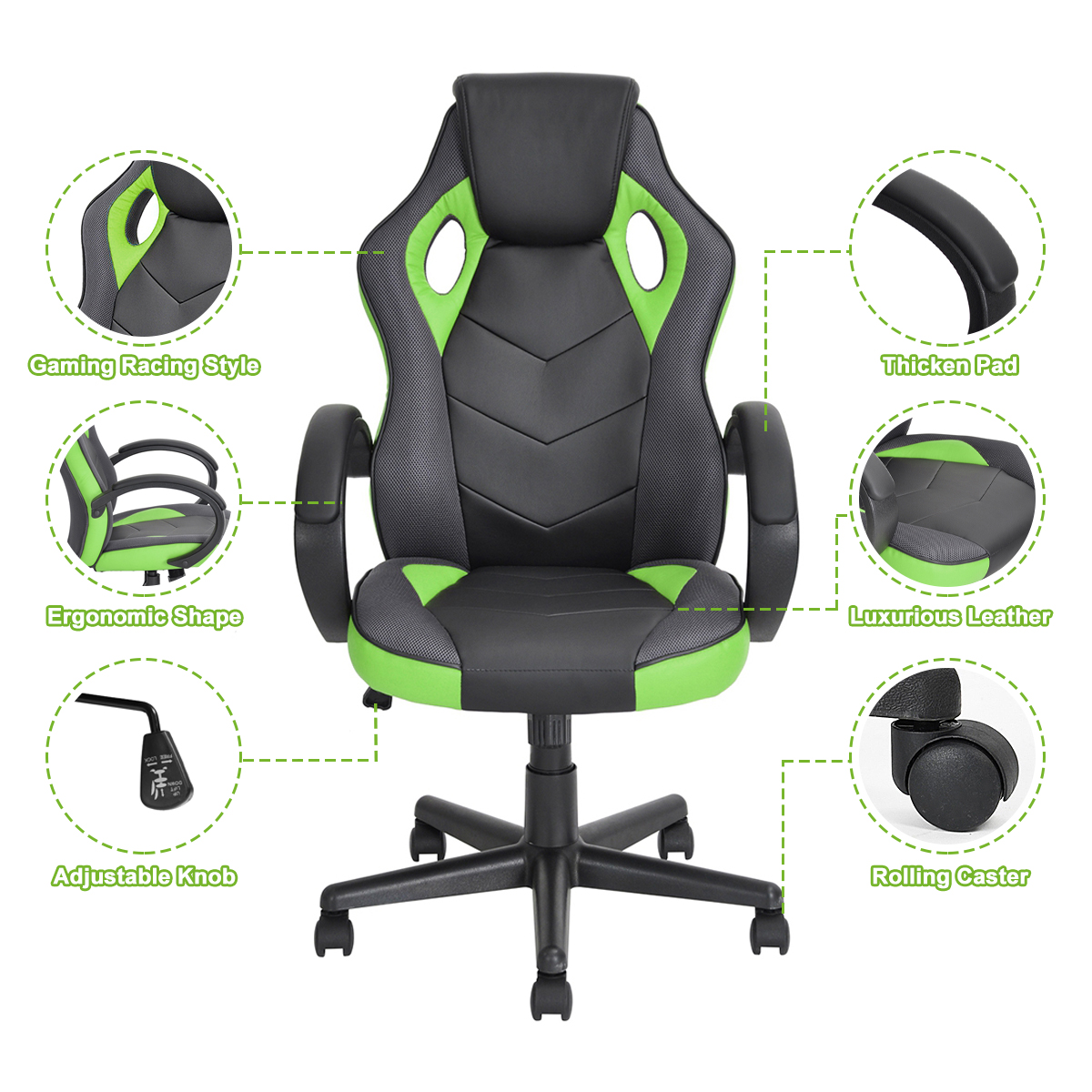 thumbnail 13 - Gaming Racing Chair Office High Back Ergonomic Computer Desk Swivel PU Leather