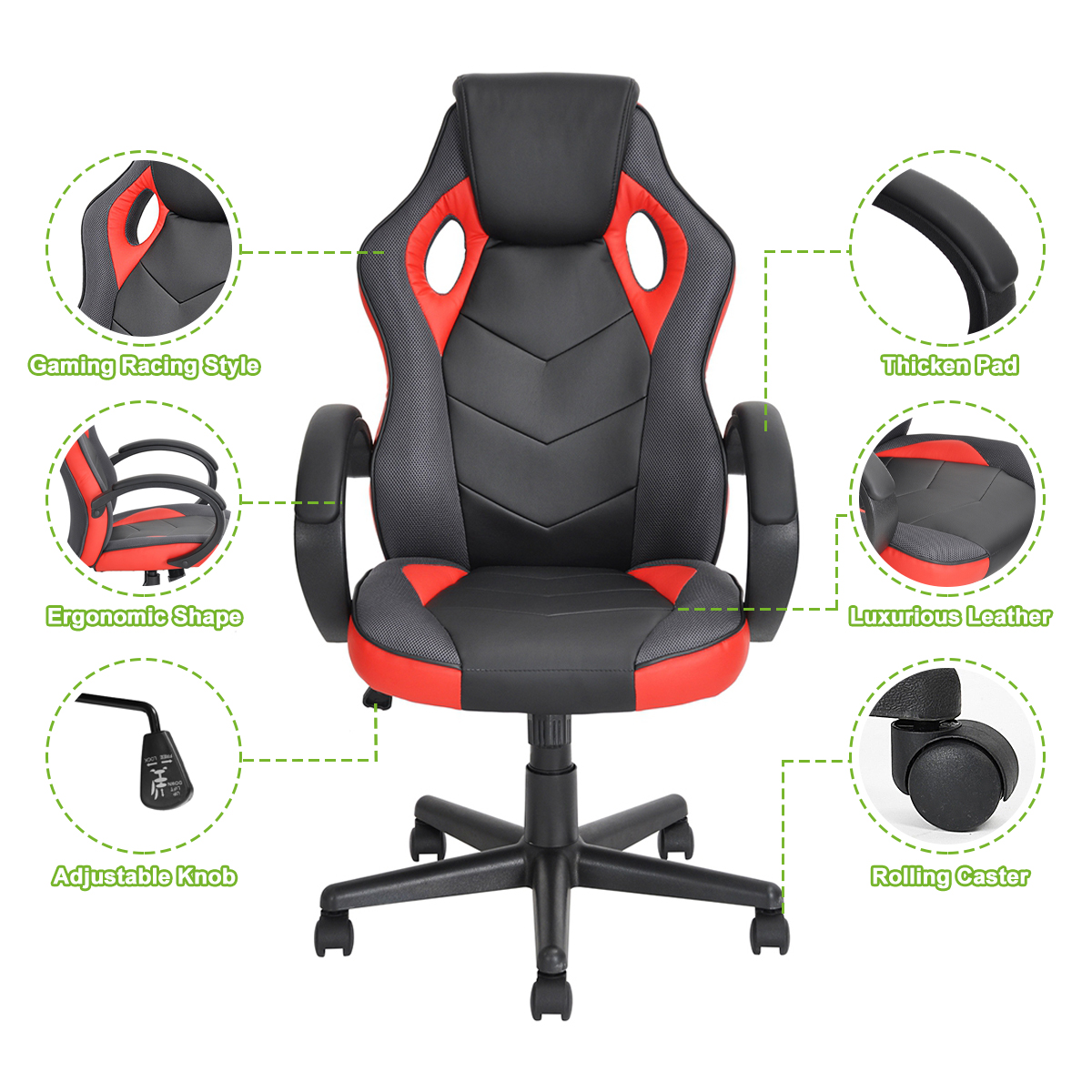 thumbnail 23 - Gaming Racing Chair Office High Back Ergonomic Computer Desk Swivel PU Leather