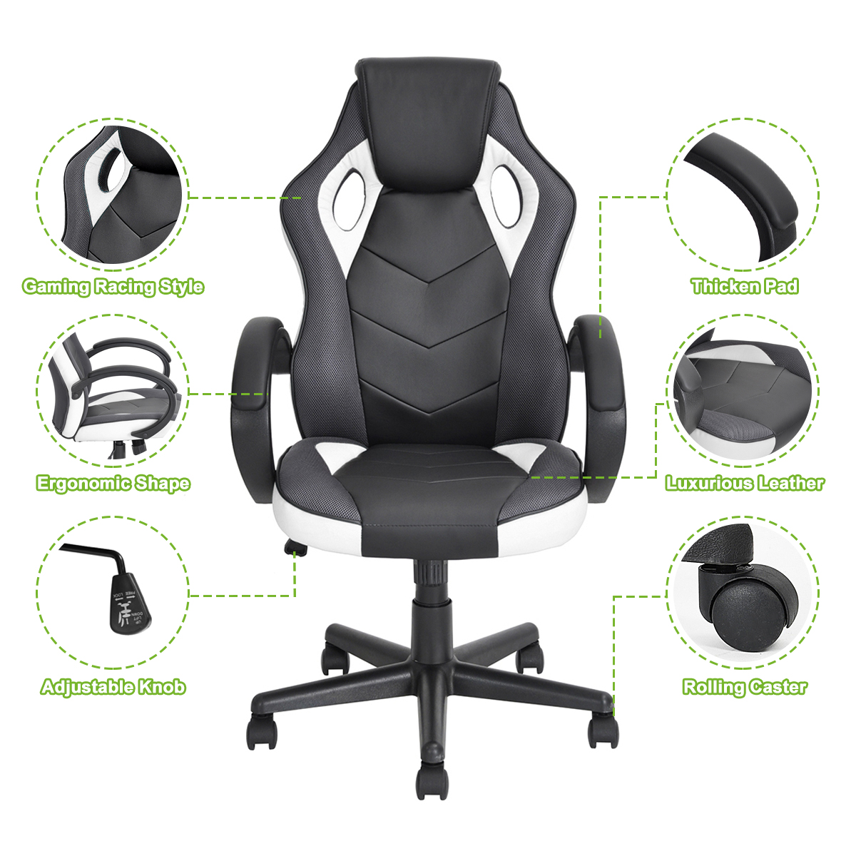 thumbnail 33 - Gaming Racing Chair Office High Back Ergonomic Computer Desk Swivel PU Leather