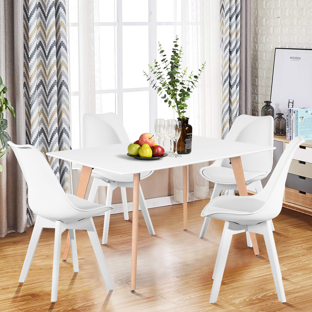 Wooden Oak White Dining Table Contemporary Kitchen Room ...