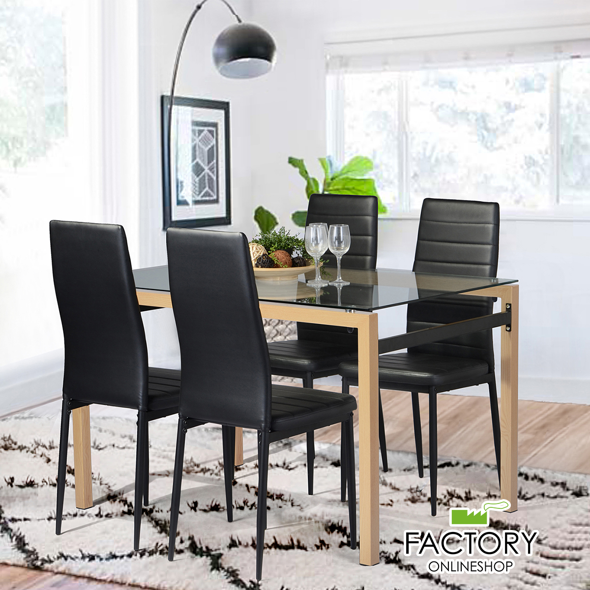 Contemporary Tempered  Glass Dining Room Table Kitchen Furniture Wood Frame