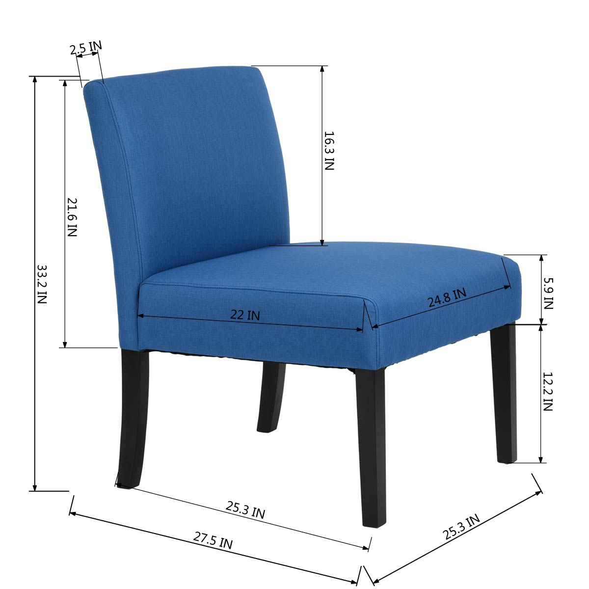 Astonishing Details About Single Side Chair Sofa Blue Fabric Cover Wooden Leg Modern Accent Home Furniture Machost Co Dining Chair Design Ideas Machostcouk