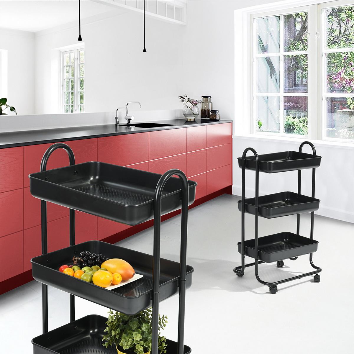 3-Tier Black Kitchen Trolley Rolling Tray Wheels Dining ...