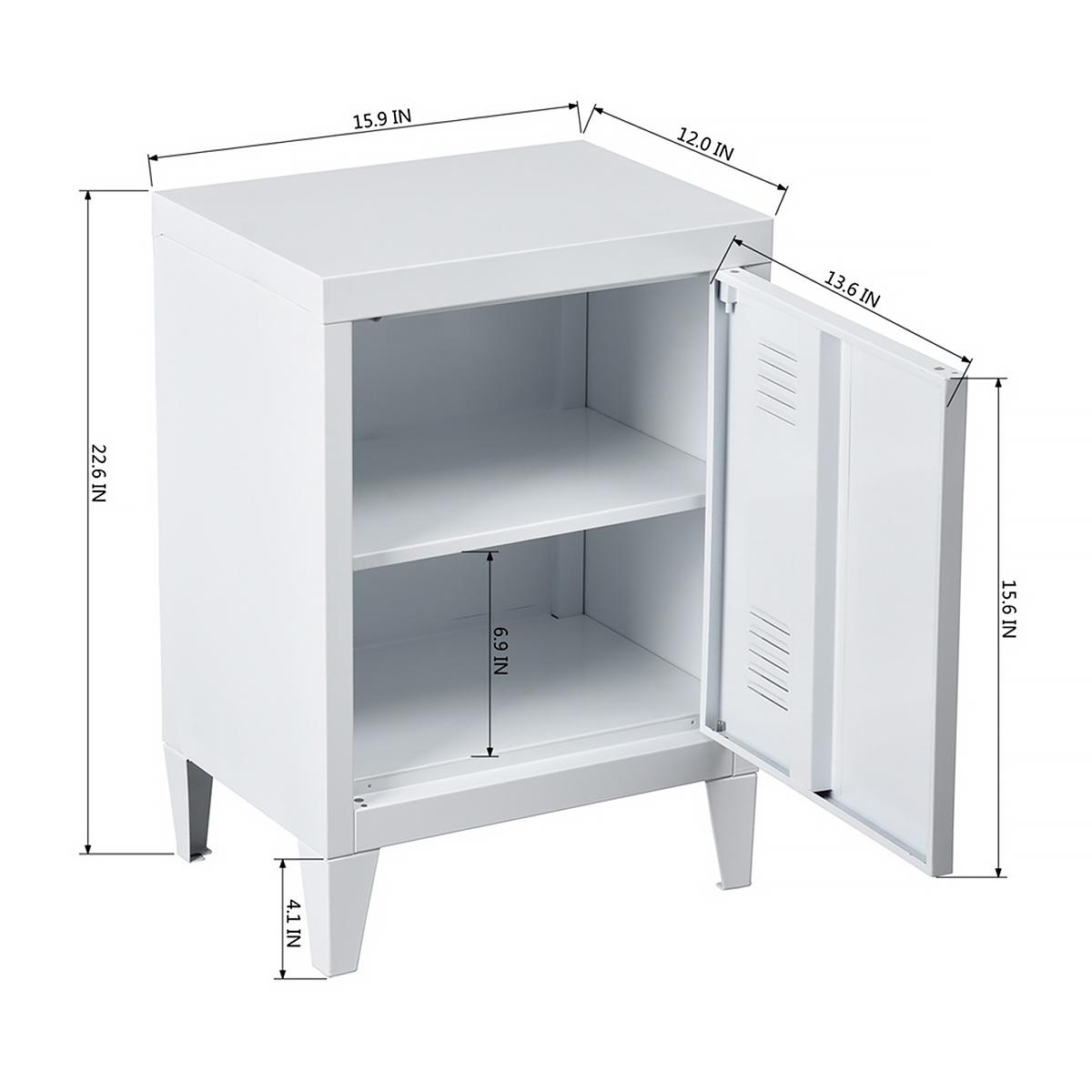 HouseinBox Low Standing Locker Organizer Side End Table Office File Storage Metal Cabinet Cupboard Unit Detachable 4 Legs,Size:15.9 x 12 x 22.6 Black