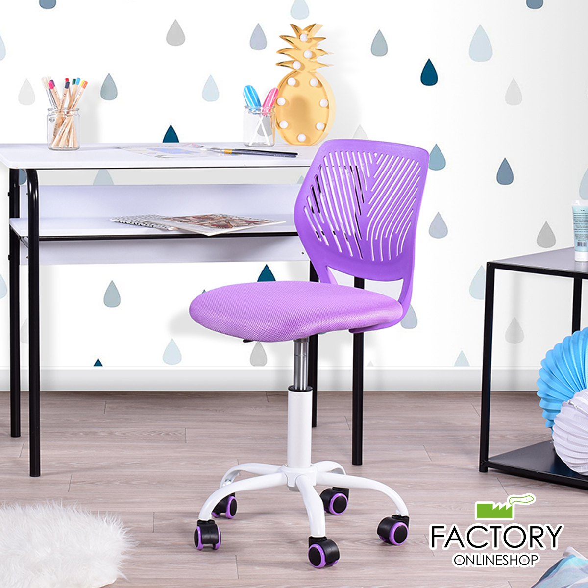 Enjoyable Details About Office Chair Purple Swivel Computer Task Student Seat Desk Kids Room Adjustable Ncnpc Chair Design For Home Ncnpcorg