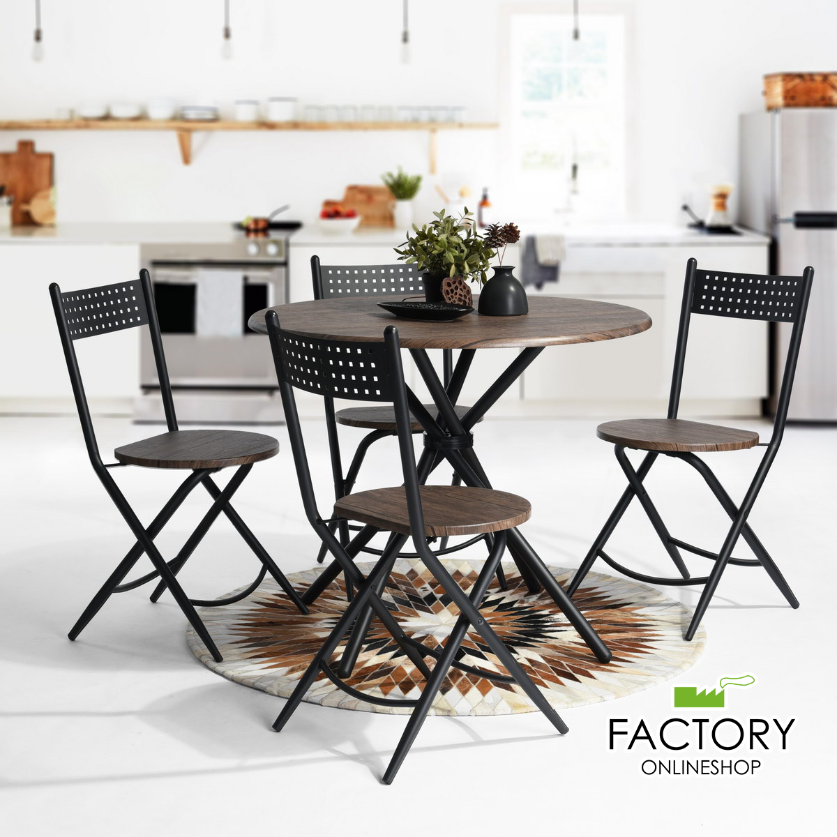Magnificent Details About 5Pcs Round Dining Table 4 X Foldable Chairs Wooden Brown Black Modern Classic Andrewgaddart Wooden Chair Designs For Living Room Andrewgaddartcom