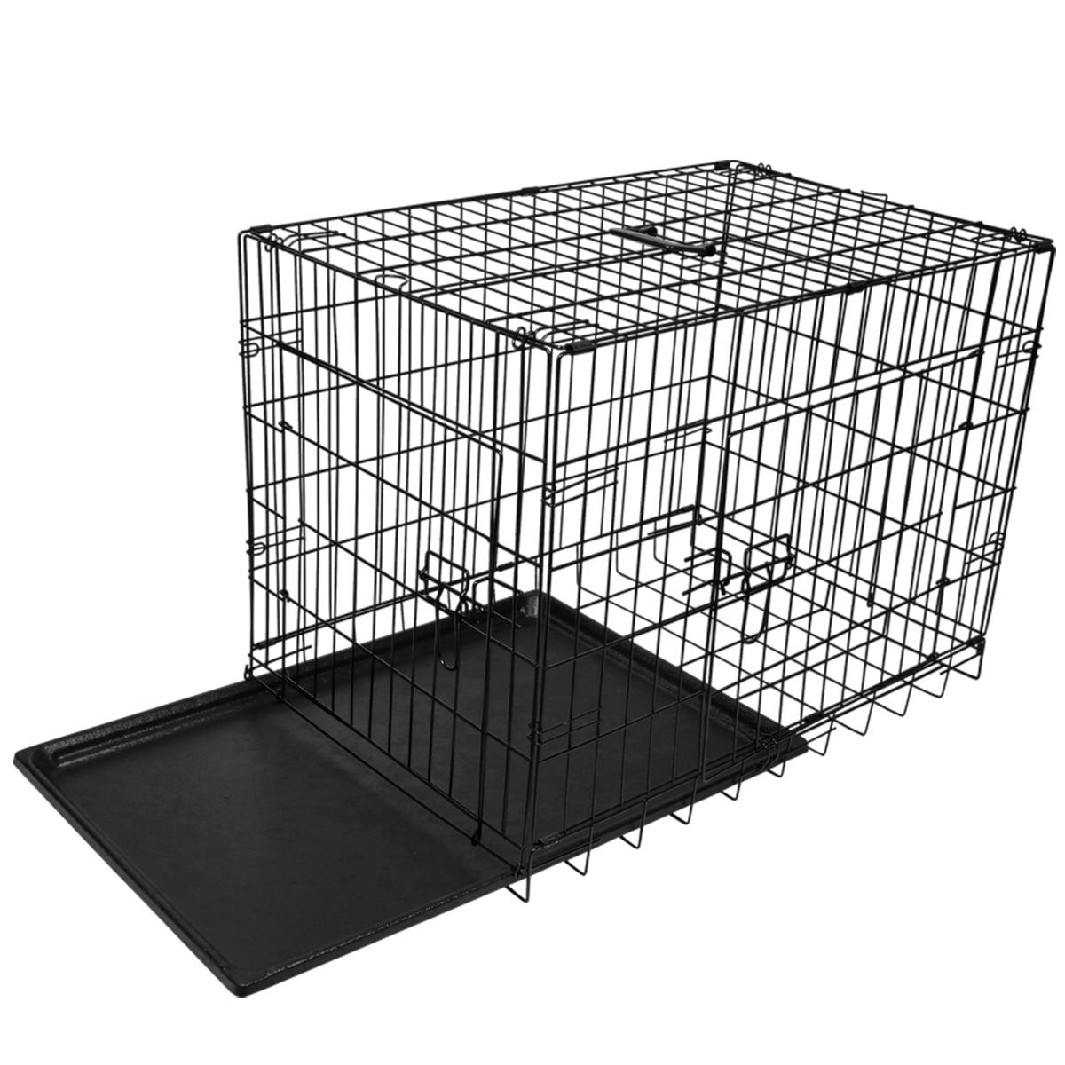 "thumbnail 8 - [24""][30""][36""][42""][48""] Folding Portable Dog Crate Pet Cage Kennel Pen 2-Doors"