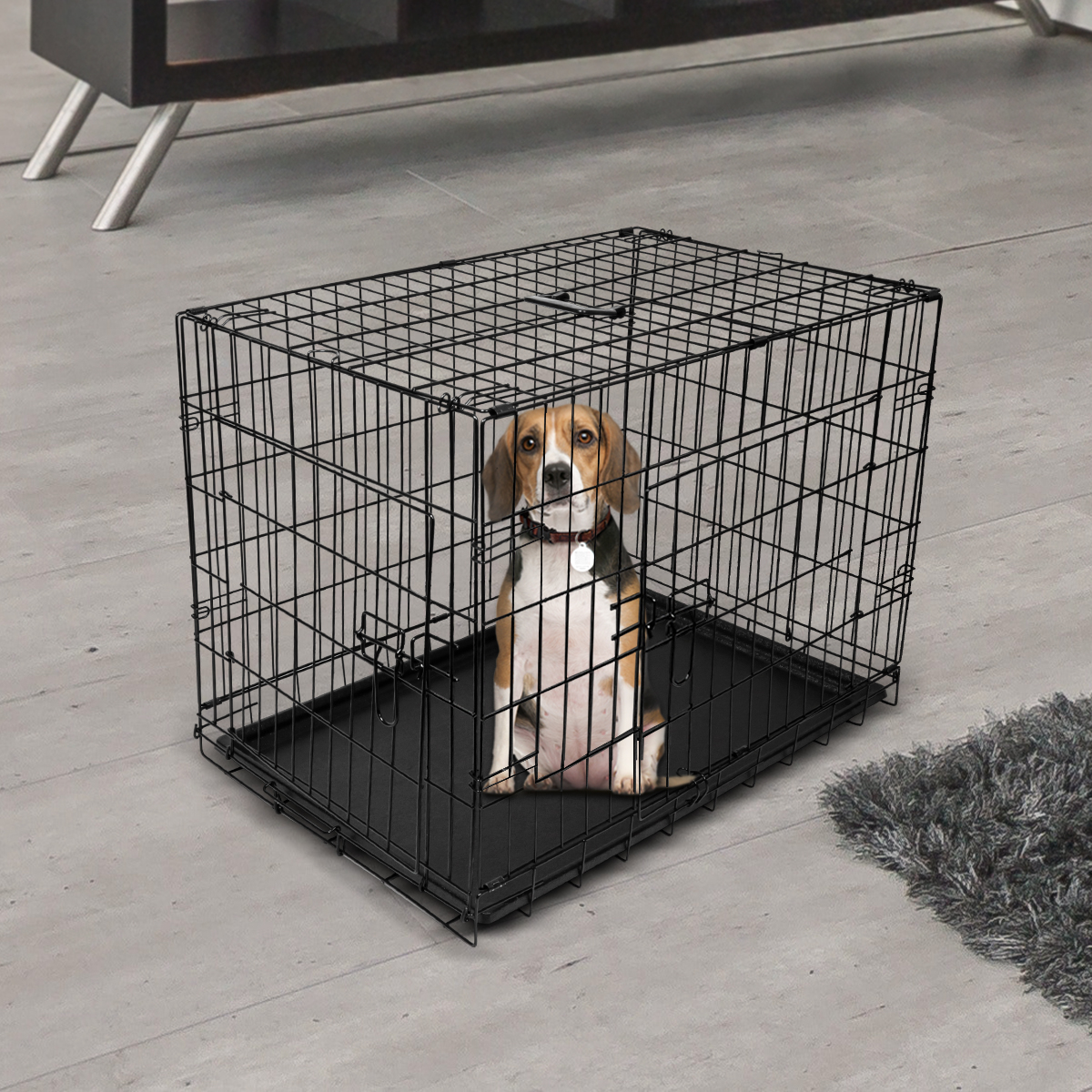 "thumbnail 13 - [24""][30""][36""][42""][48""] Folding Portable Dog Crate Pet Cage Kennel Pen 2-Doors"