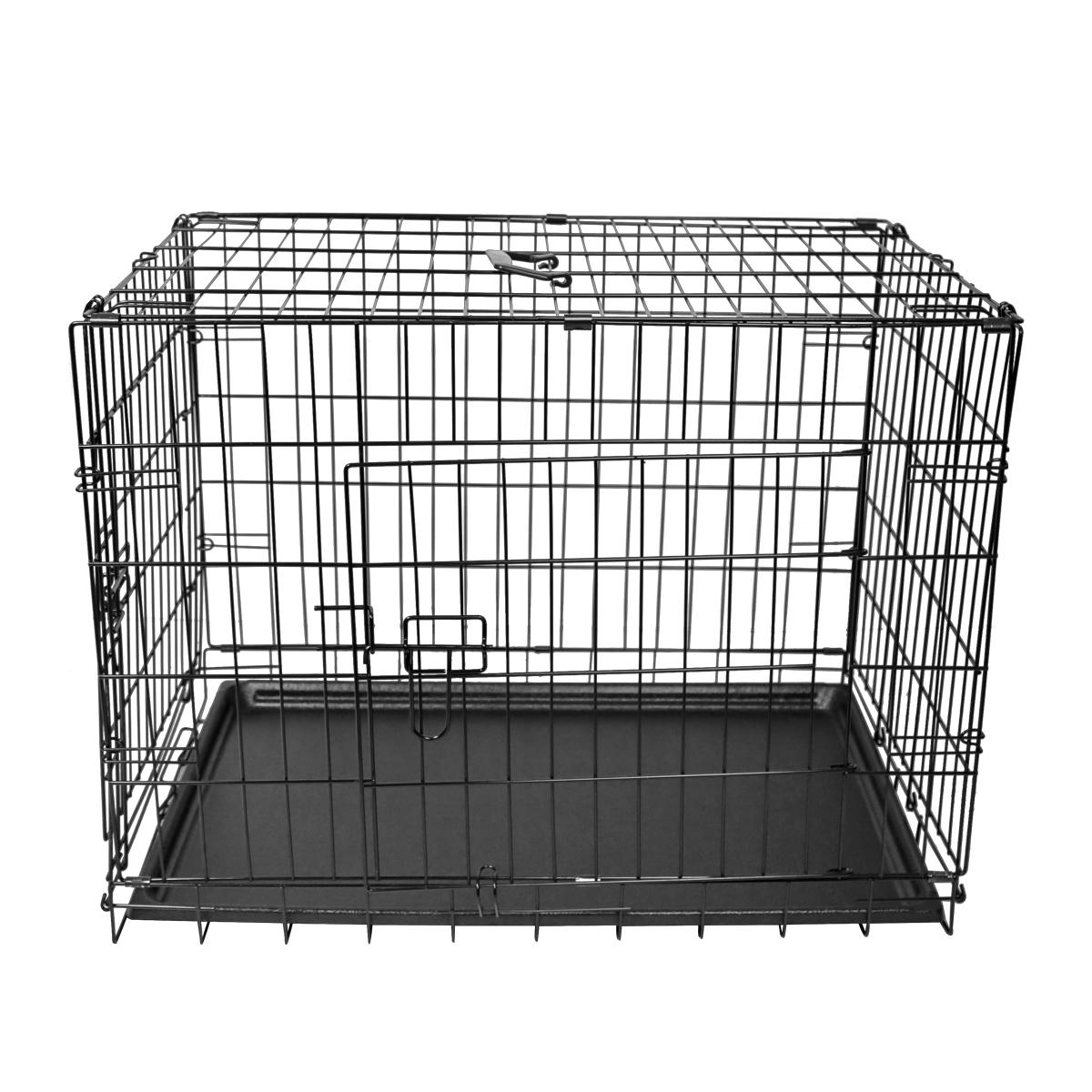 "thumbnail 21 - [24""][30""][36""][42""][48""] Folding Portable Dog Crate Pet Cage Kennel Pen 2-Doors"