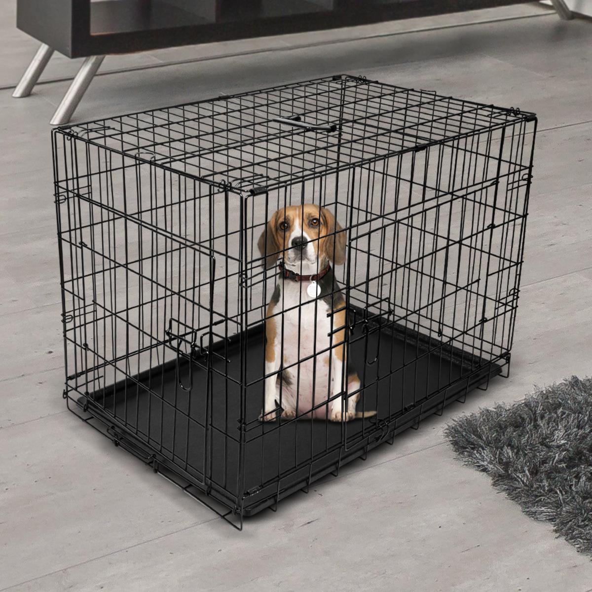 "thumbnail 25 - [24""][30""][36""][42""][48""] Folding Portable Dog Crate Pet Cage Kennel Pen 2-Doors"