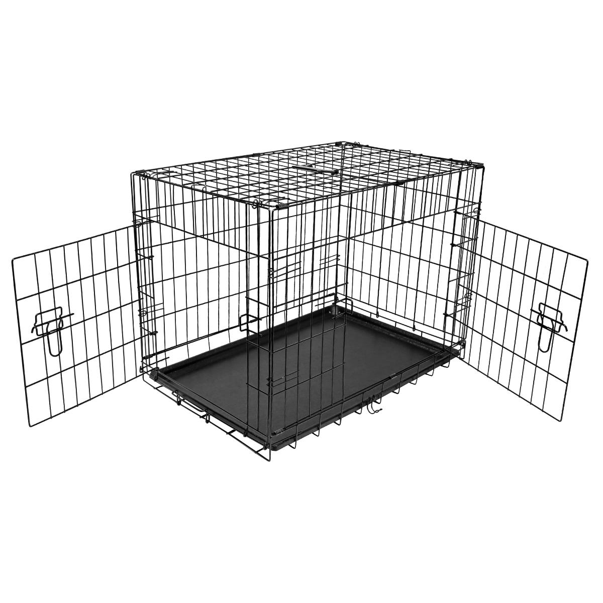 "thumbnail 31 - [24""][30""][36""][42""][48""] Folding Portable Dog Crate Pet Cage Kennel Pen 2-Doors"