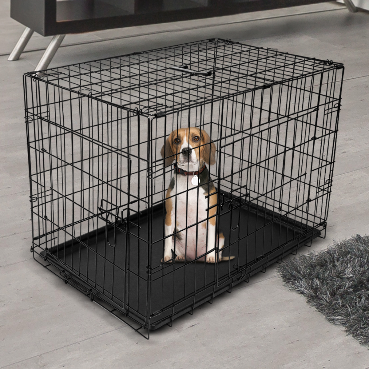 "thumbnail 36 - [24""][30""][36""][42""][48""] Folding Portable Dog Crate Pet Cage Kennel Pen 2-Doors"