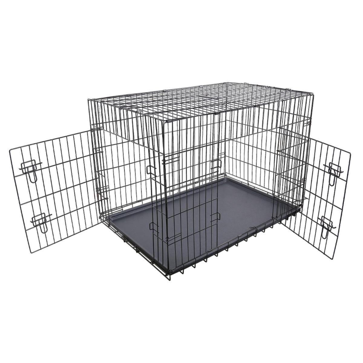 "thumbnail 42 - [24""][30""][36""][42""][48""] Folding Portable Dog Crate Pet Cage Kennel Pen 2-Doors"