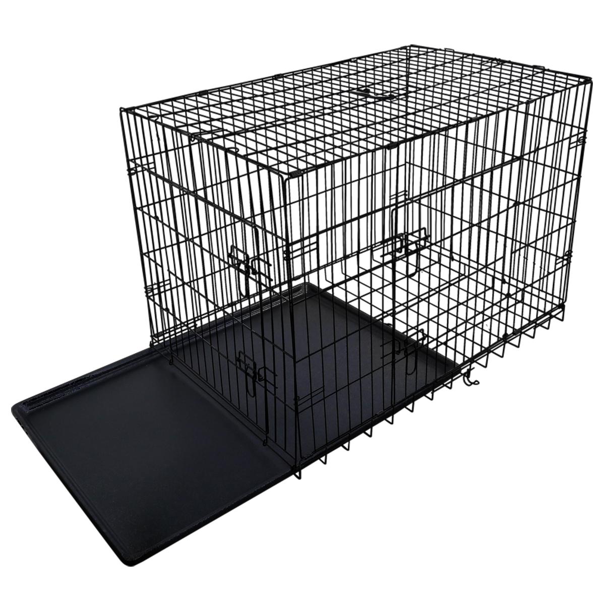 "thumbnail 43 - [24""][30""][36""][42""][48""] Folding Portable Dog Crate Pet Cage Kennel Pen 2-Doors"