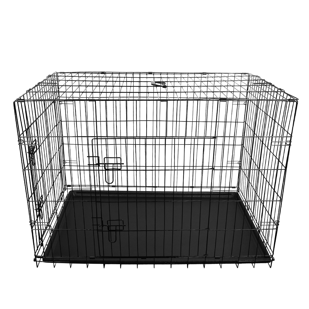 "thumbnail 44 - [24""][30""][36""][42""][48""] Folding Portable Dog Crate Pet Cage Kennel Pen 2-Doors"