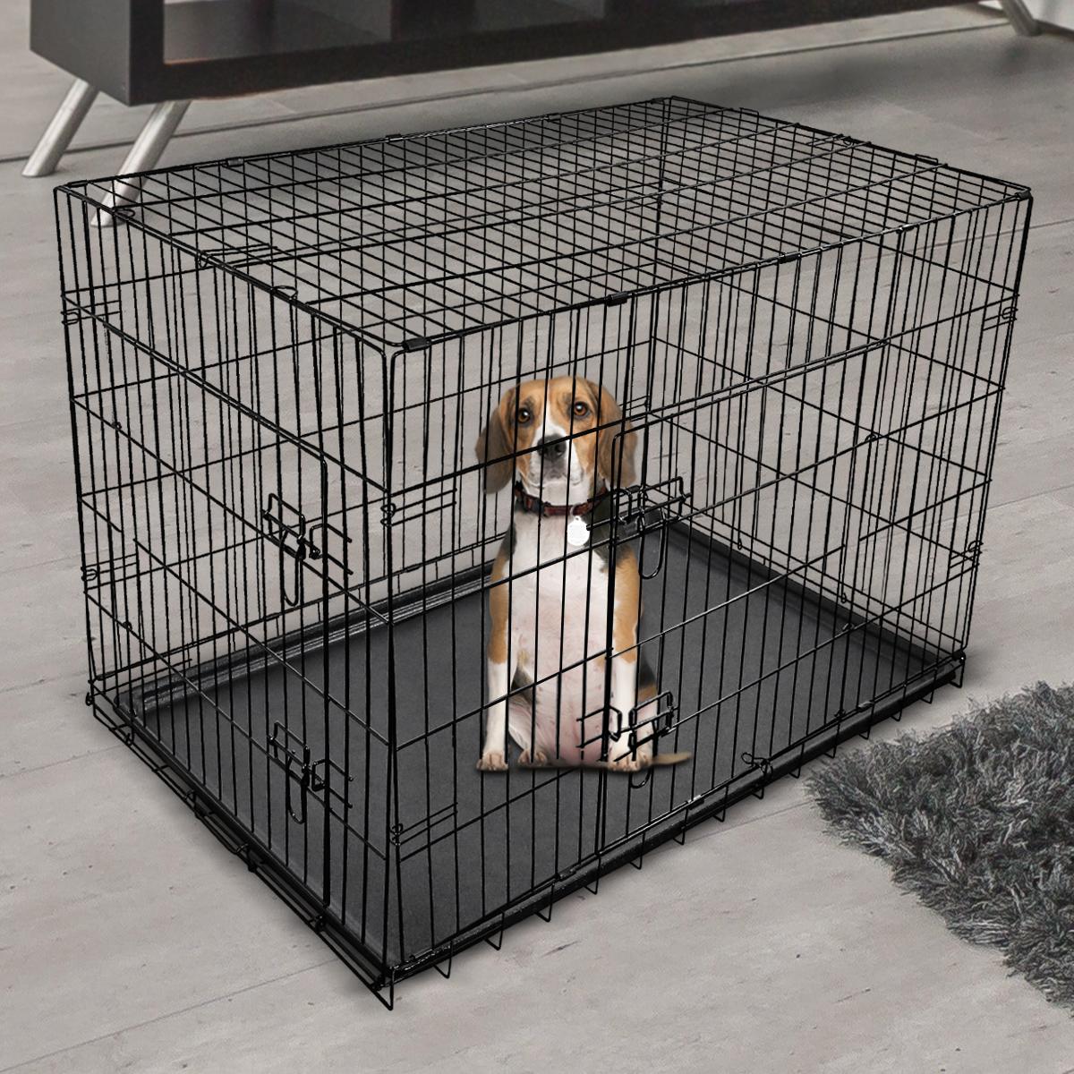 "thumbnail 48 - [24""][30""][36""][42""][48""] Folding Portable Dog Crate Pet Cage Kennel Pen 2-Doors"