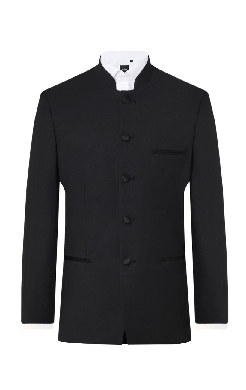 Dobell Mens Black Tuxedo Jacket Regular Fit Mandarin Collar