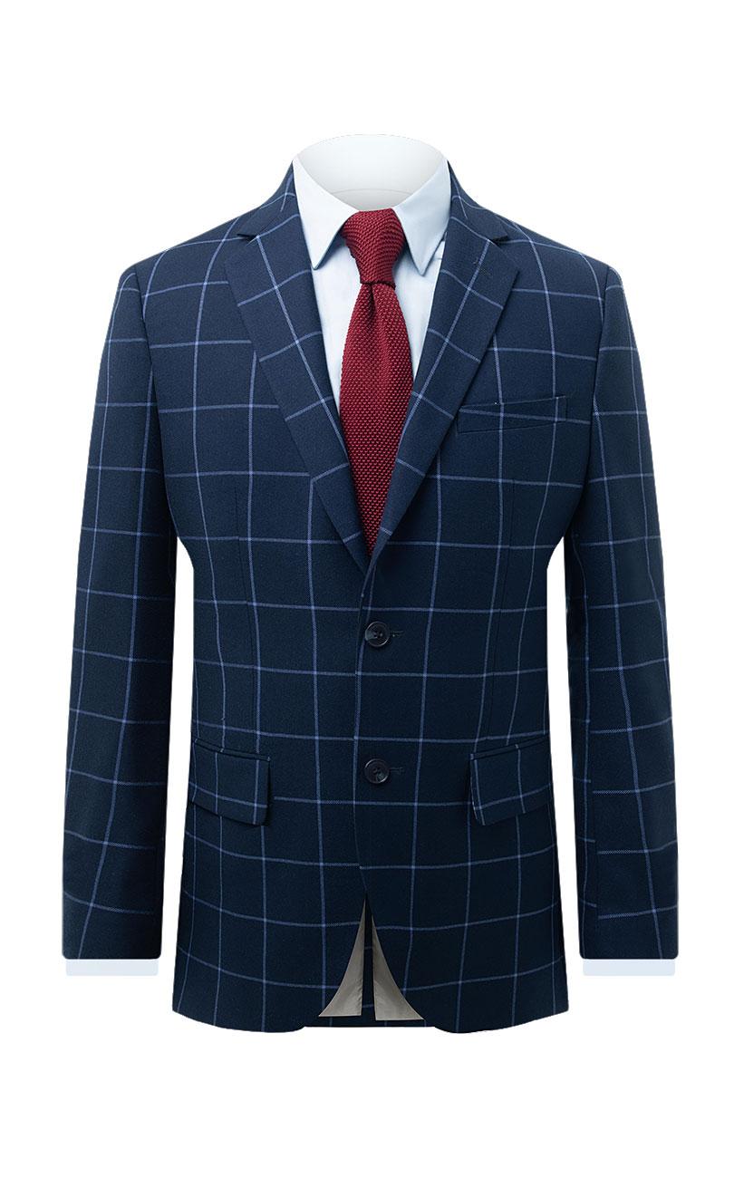 1bf8c578d6476 Dobell Mens Navy Suit Jacket Regular Fit Notch Lapel Blue Windowpane  Check-34R