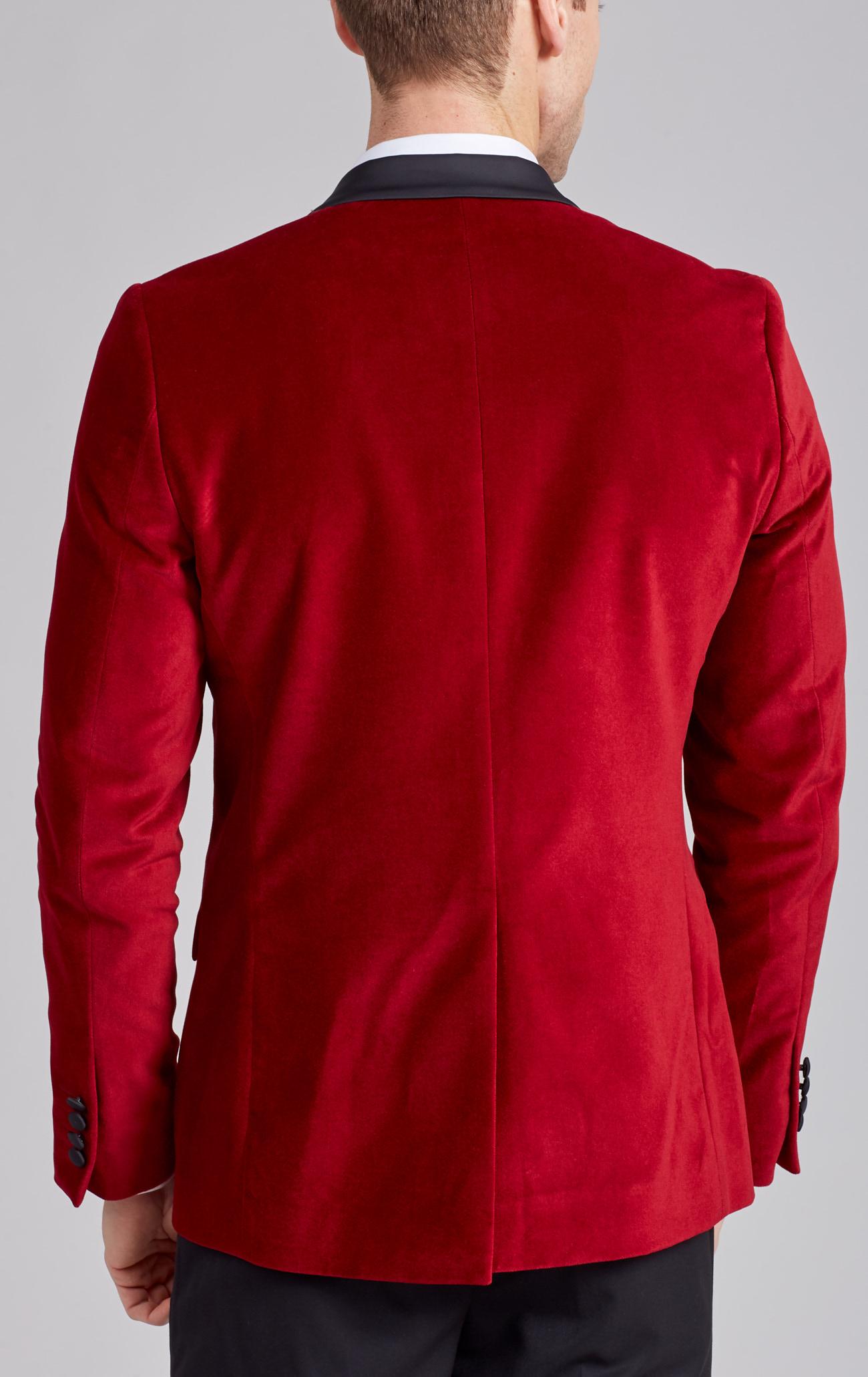 b41b0b09675 Dobell Mens Red Velvet Tuxedo Jacket Regular Fit Contrast Shawl Lapel-34R