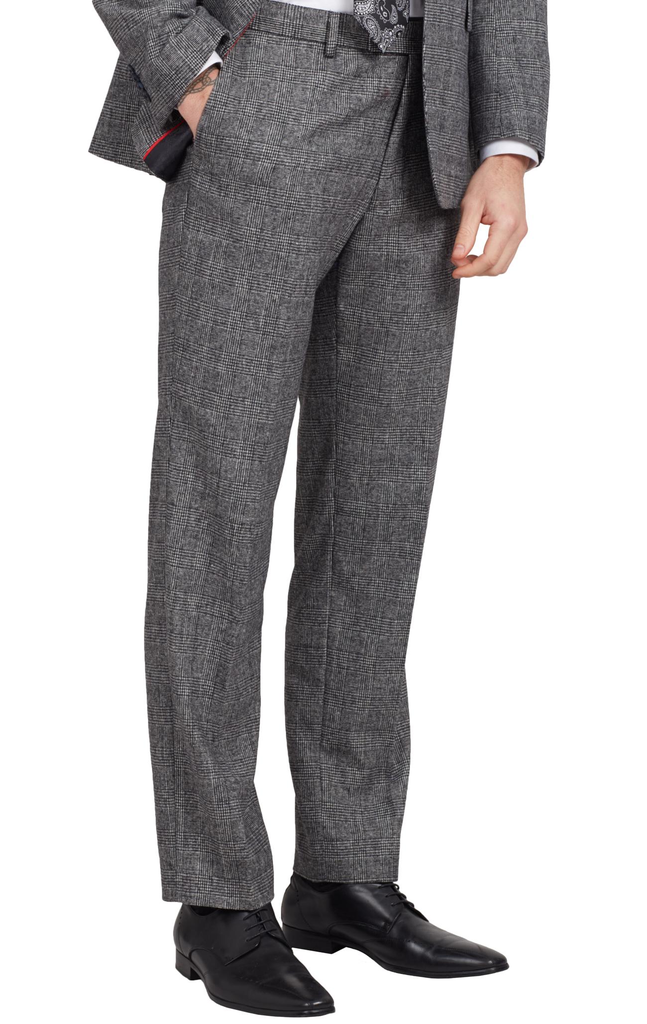 Dobell Mens Black Suit Trousers Regular Fit