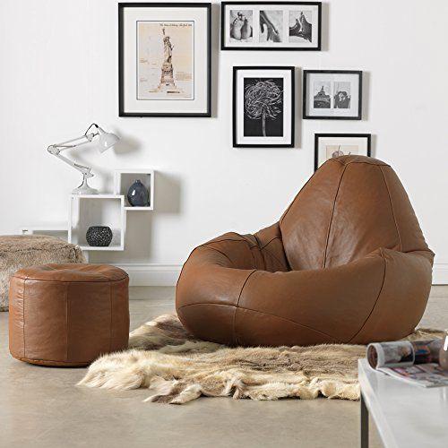 miniatura 13 - Bean Bag Bazaar-Pouf in vera pelle, XXL-Sedia reclinabile in pelle Bag-ICON