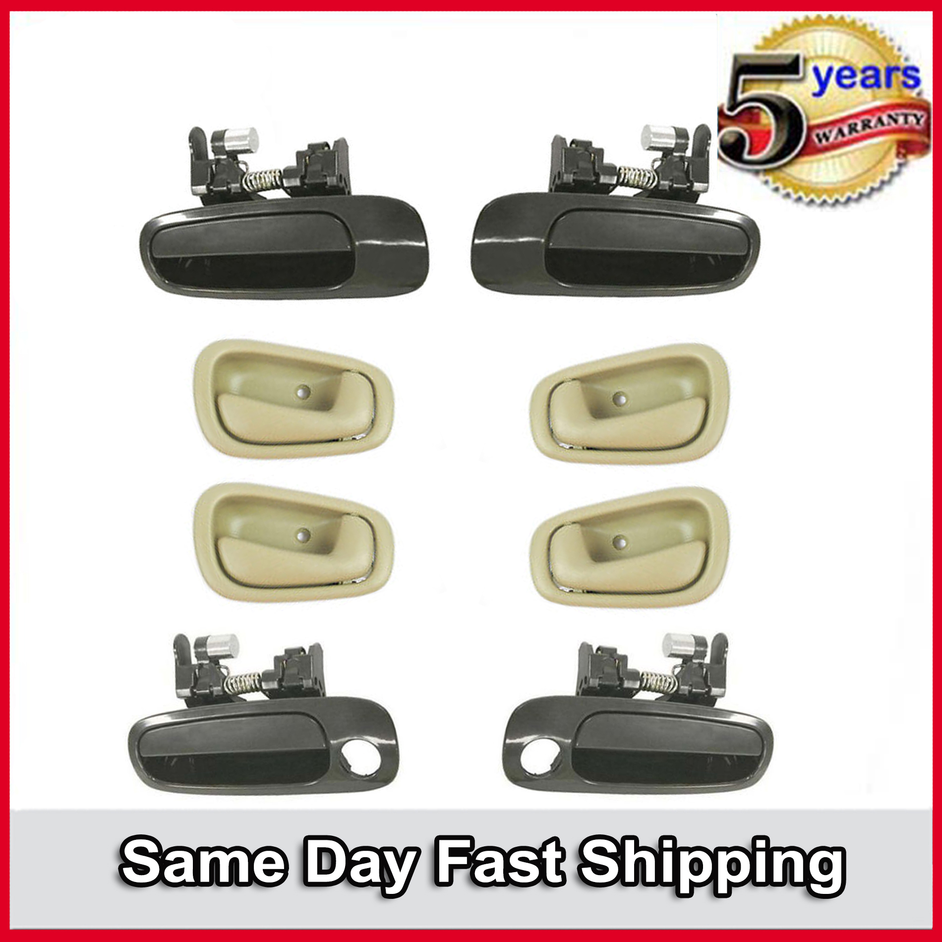 For Toyota Corolla 98-02 Non-Painted /& Gray Outside /& Inside Door Handle 8PCS