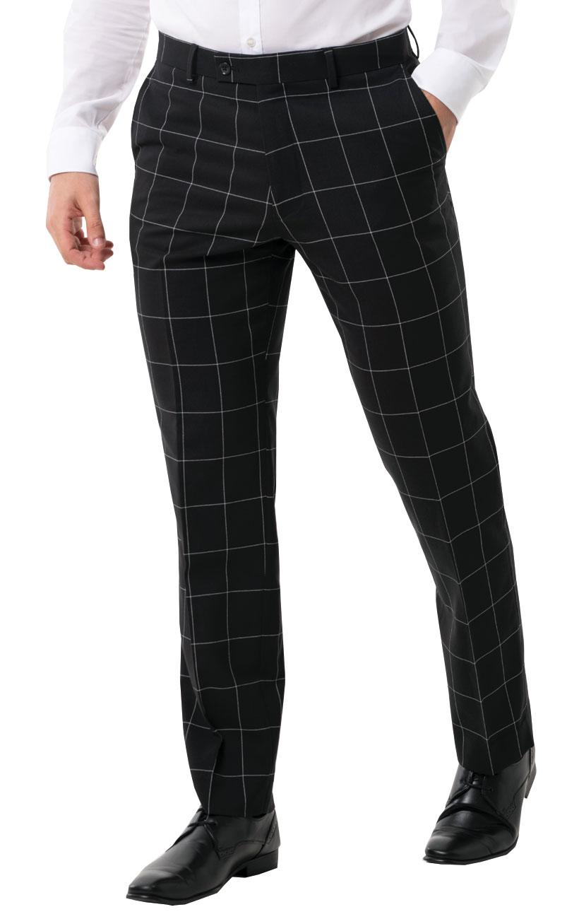 best authentic top brands best place Détails sur Dobell Homme Pantalon de Costume Noir à Gros Carreaux Blanc  Coupe Classique