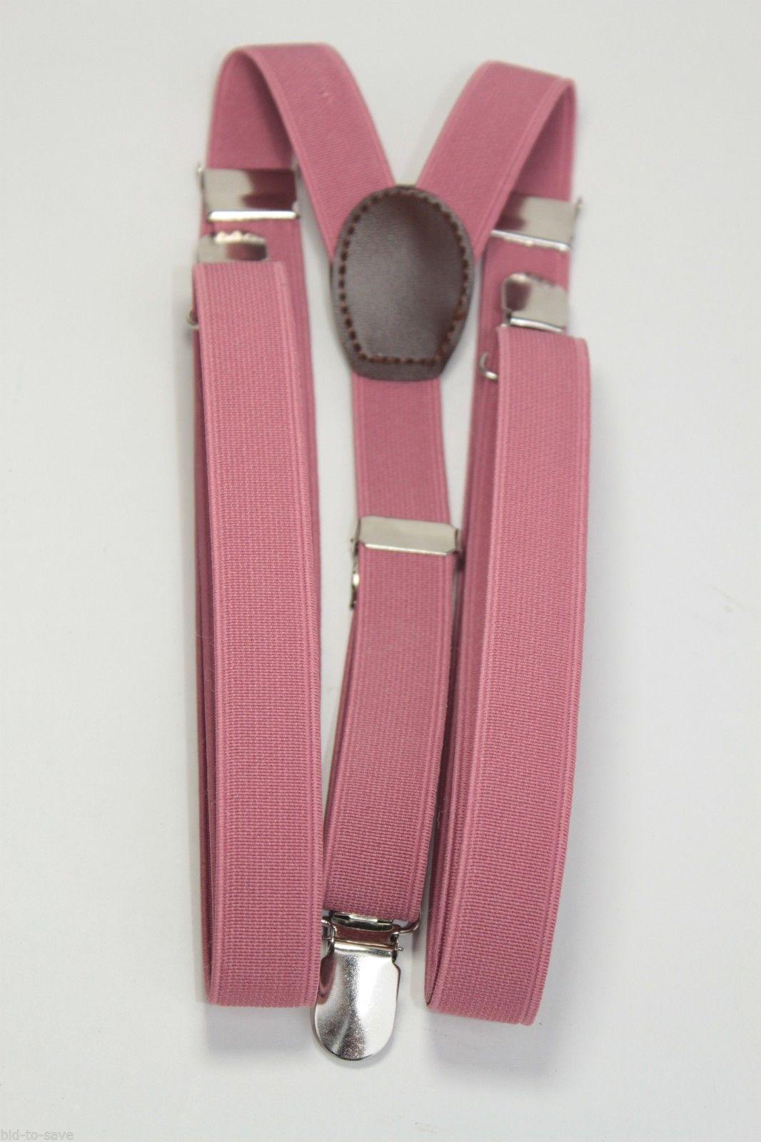 4885f1eda DARK PINK Mens Women Clip-on Suspenders Elastic Y-Shape Adjustable Braces  NEW