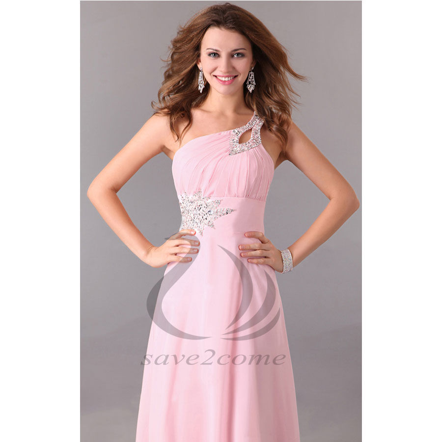 Wedding Bridesmaid Dresses One Shoulder Chiffon Maxi Long Party Ball ...