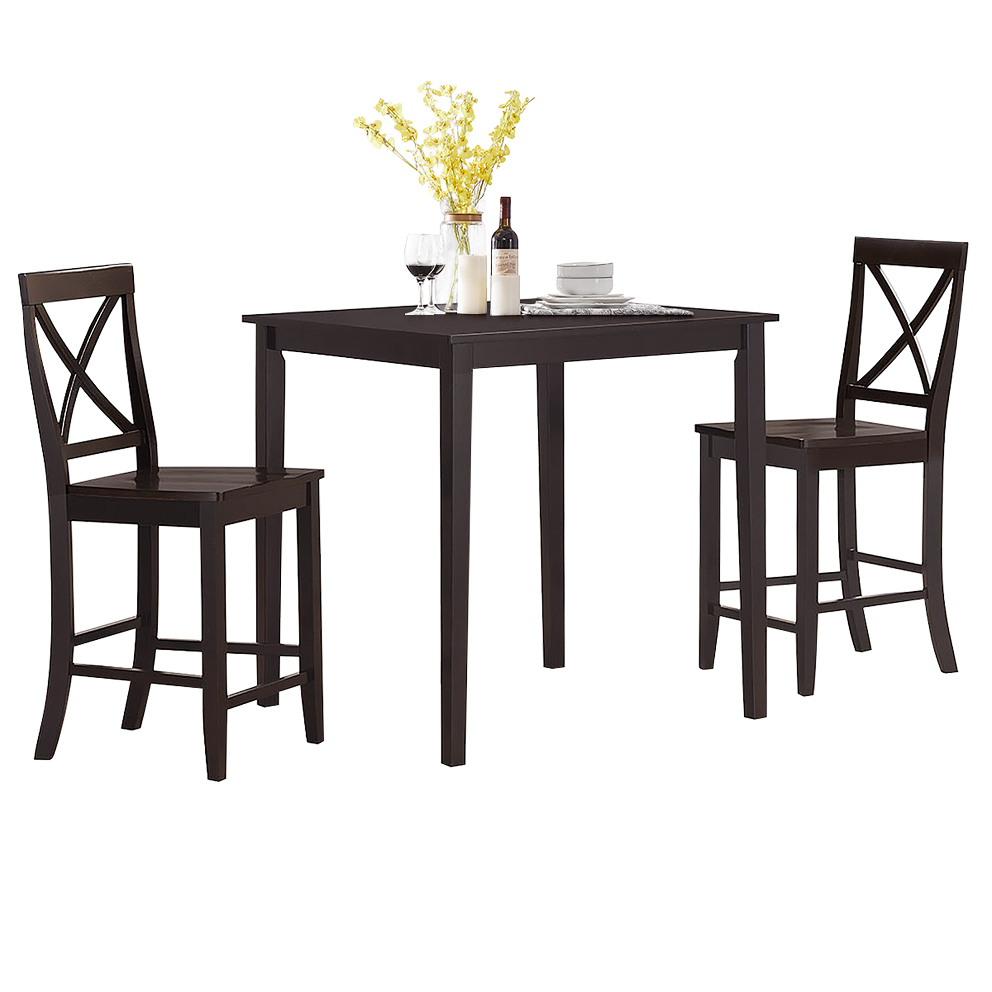Details about Costway 10-Piece Kitchen Dining Set Counter-Height Square  Table with 10 Chairs