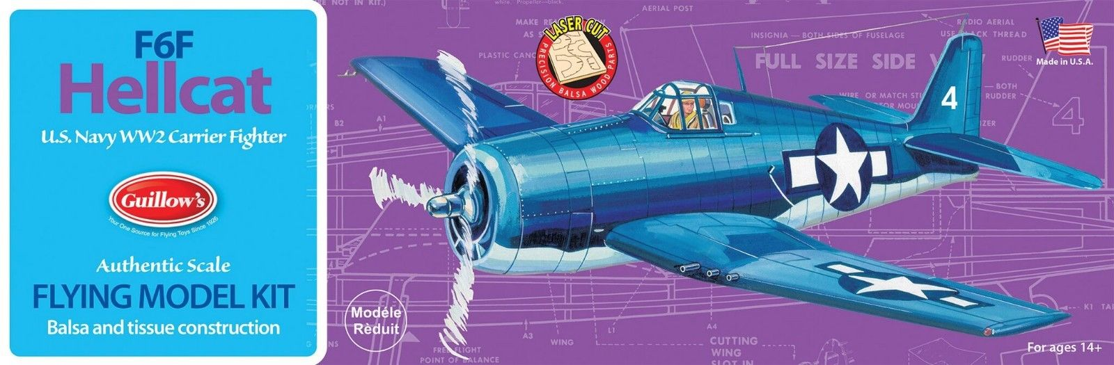 "GUILLOWS  16-1//2/"" Wingspan F6F Kit  GUI503"