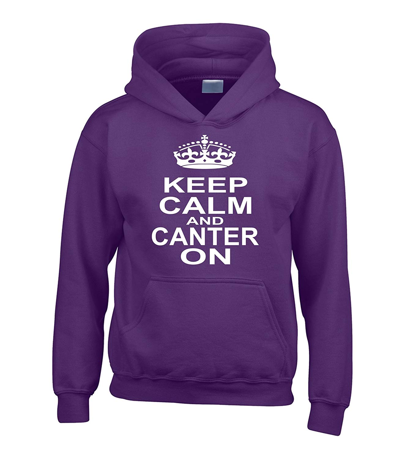 KEEP CALM AND TROT ON HOODIE HOODY HORSE RIDING ADULT /& KID/'S SIZES 12 COLOURS