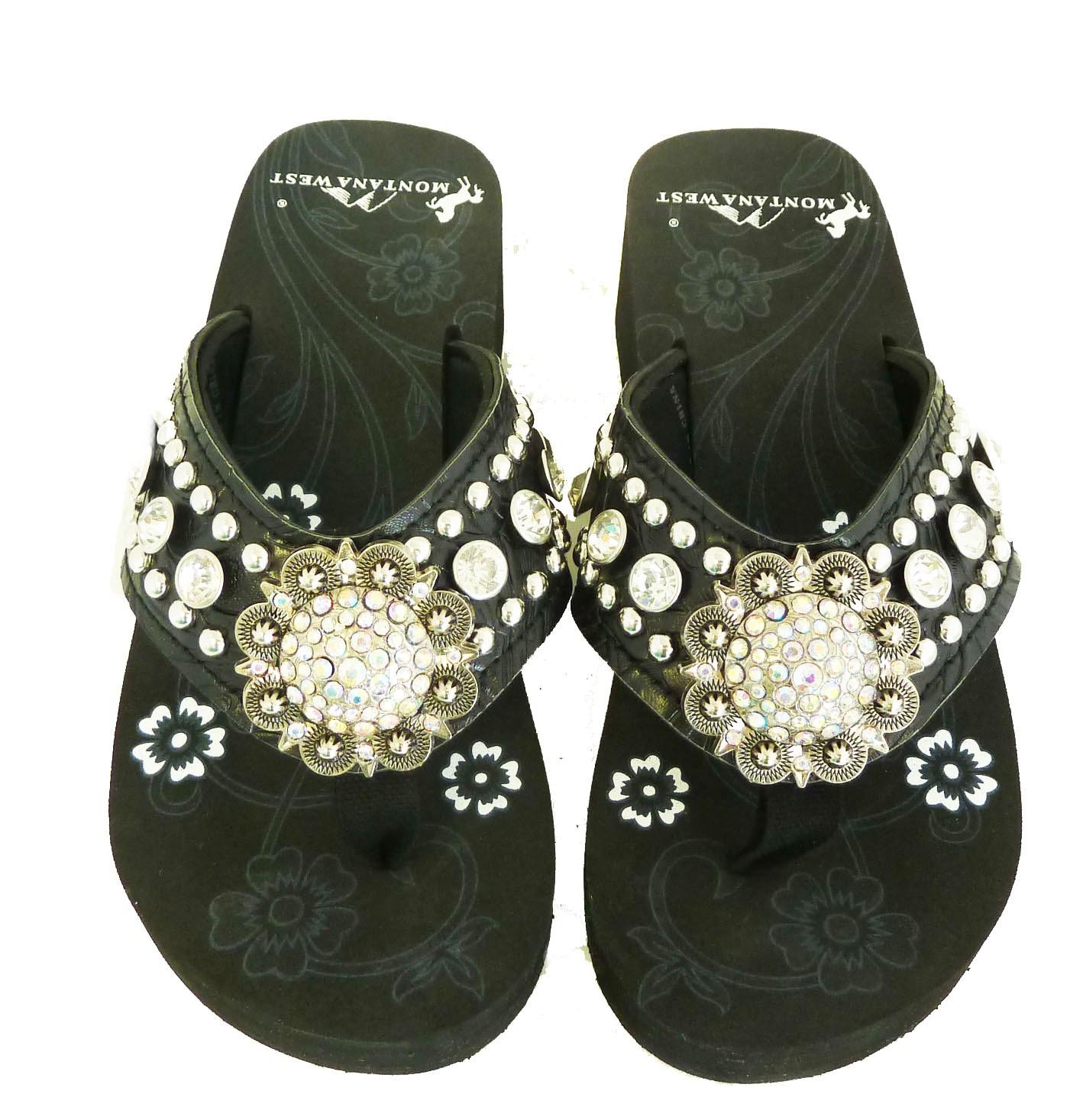 da46e0b6675f Montana West Women Flip Flops Wedged Bling Sandals Large Floral Concho  Coffee