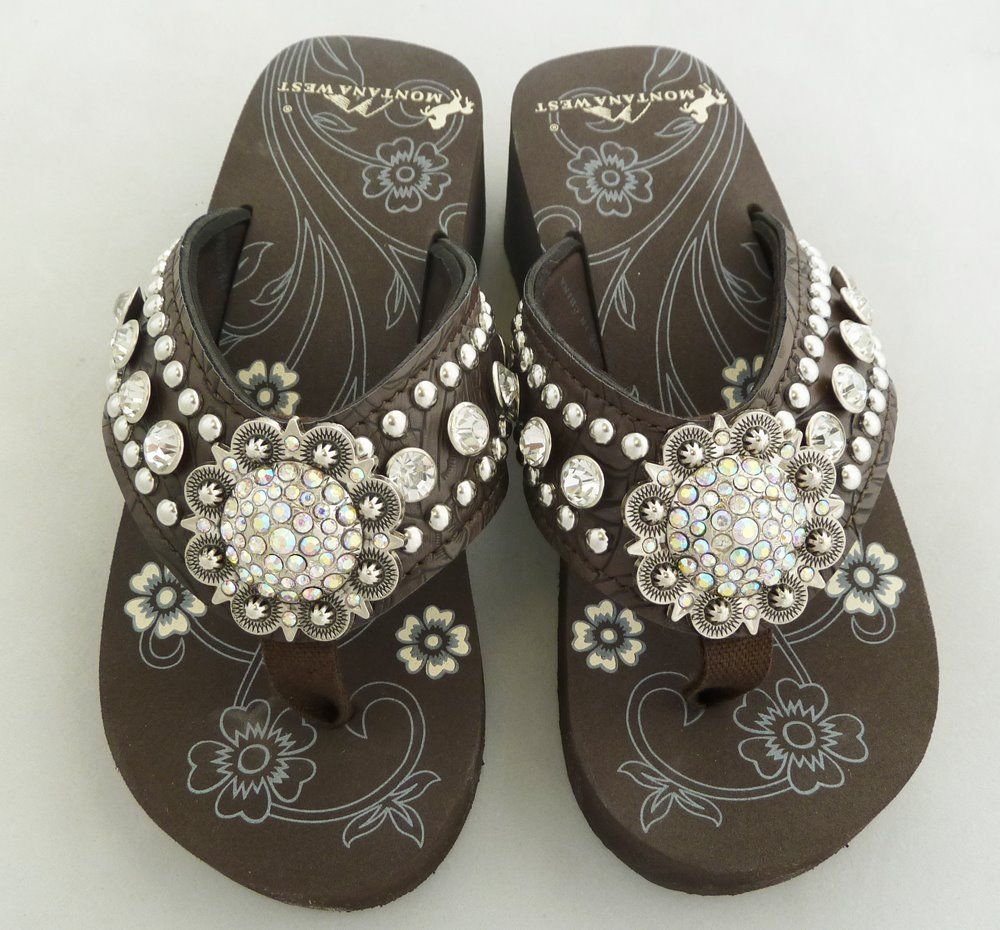 2e2278a951325 Montana West Women Flip Flops Wedged Bling Sandals Large Floral ...