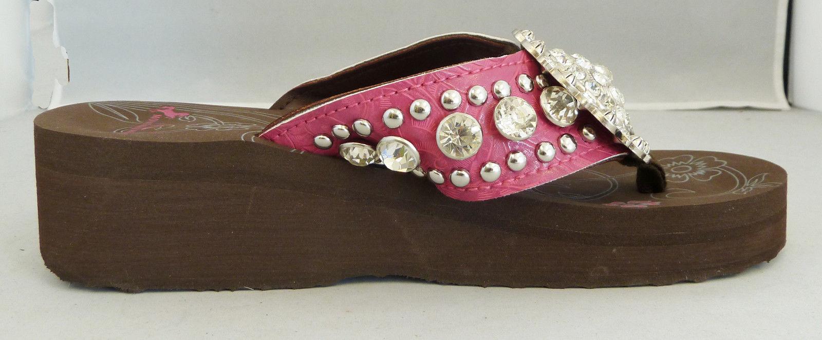 c3aaa8b32b22 Montana West Women Flip Flops Wedged Bling Sandals Large Floral ...