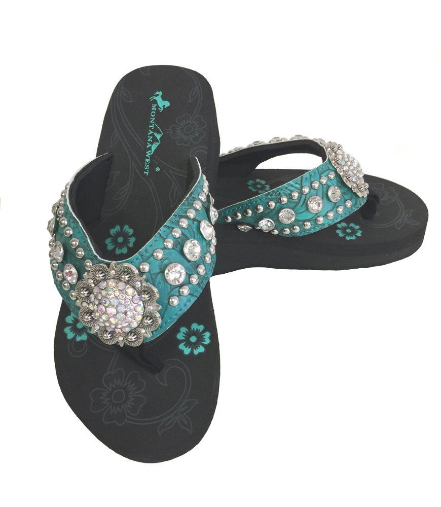 980770653 Montana West Women Flip Flops Wedged Bling Sandals Large Floral Concho  Turquoise