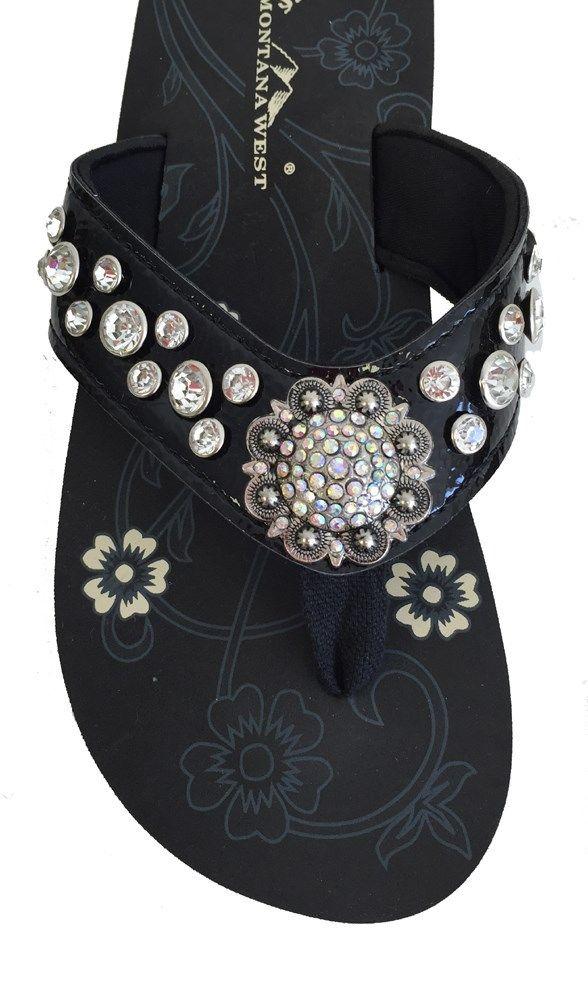 f33b1f066 Montana West Women Flip Flops Shiny Bling Sandals Crystals Floral ...