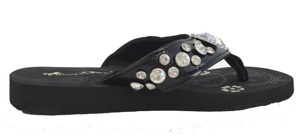 84c1e2b1c4e30 Details about Montana West Women Flip Flops Shiny Western Bling Sandals AB  Crystal Cross Black