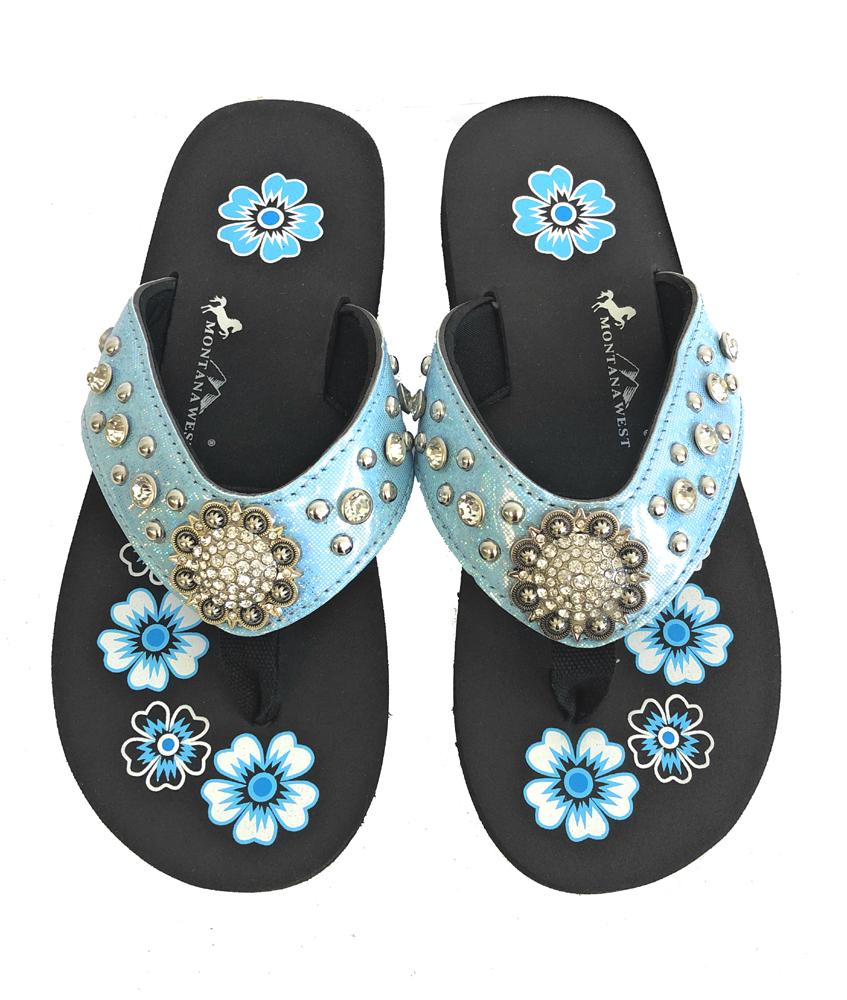 7f4d46202d3039 Montana West Flip Flops Sandal Shiny Straps Crystals Floral Concho Blue 6