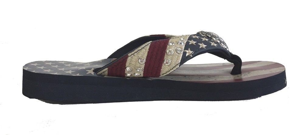 df4269617c53a Montana West Women Flip Flops American Flag Pride Star Concho Flat ...
