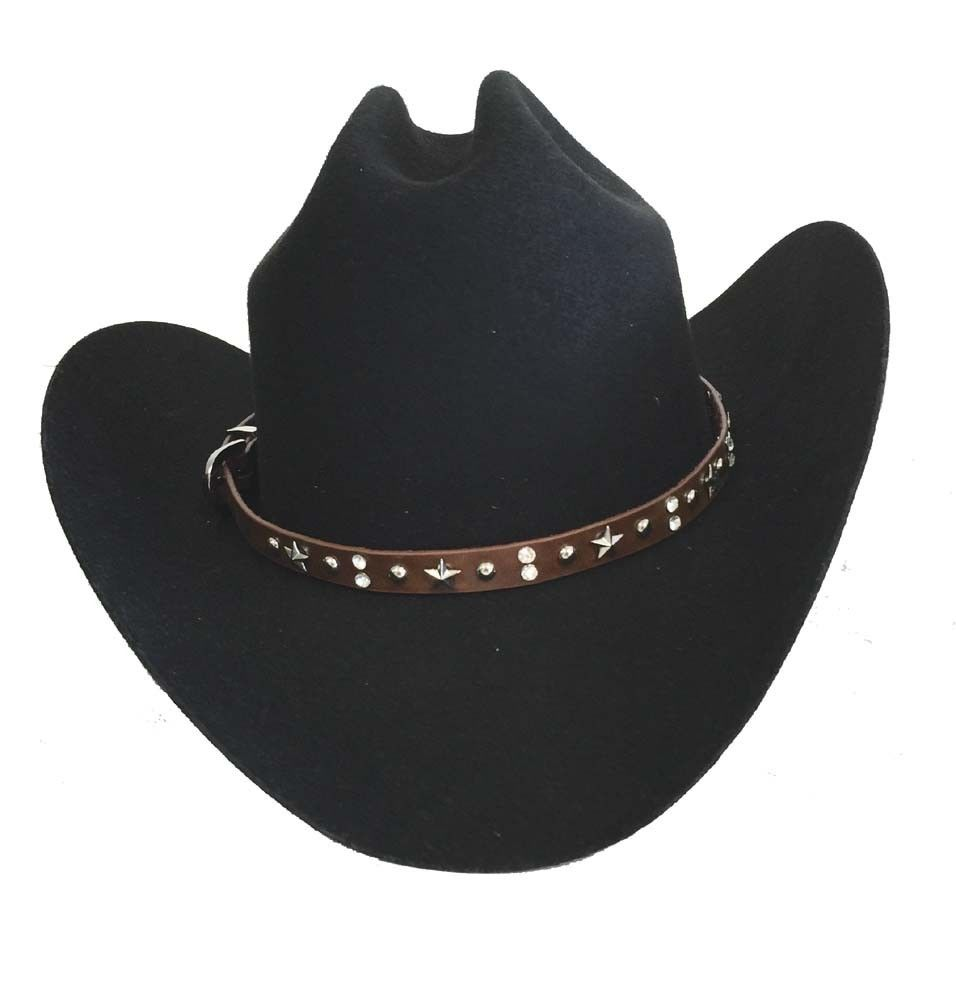 Cowgirl Hat Band Western Rhinestones Bling Adjustable Buckle Silver Stars  Brown e1532034a96