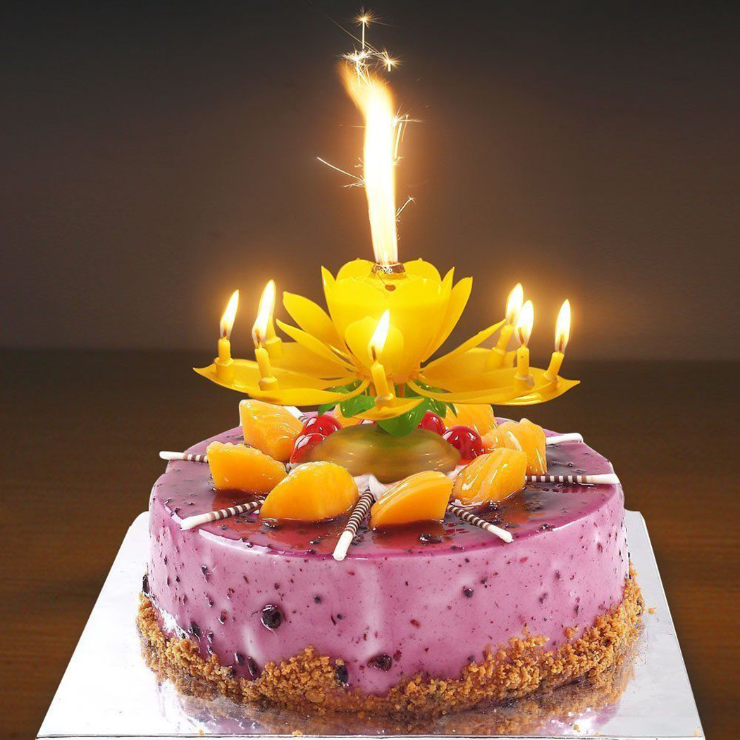 Birthday Cake Flower Candles With Happy Music