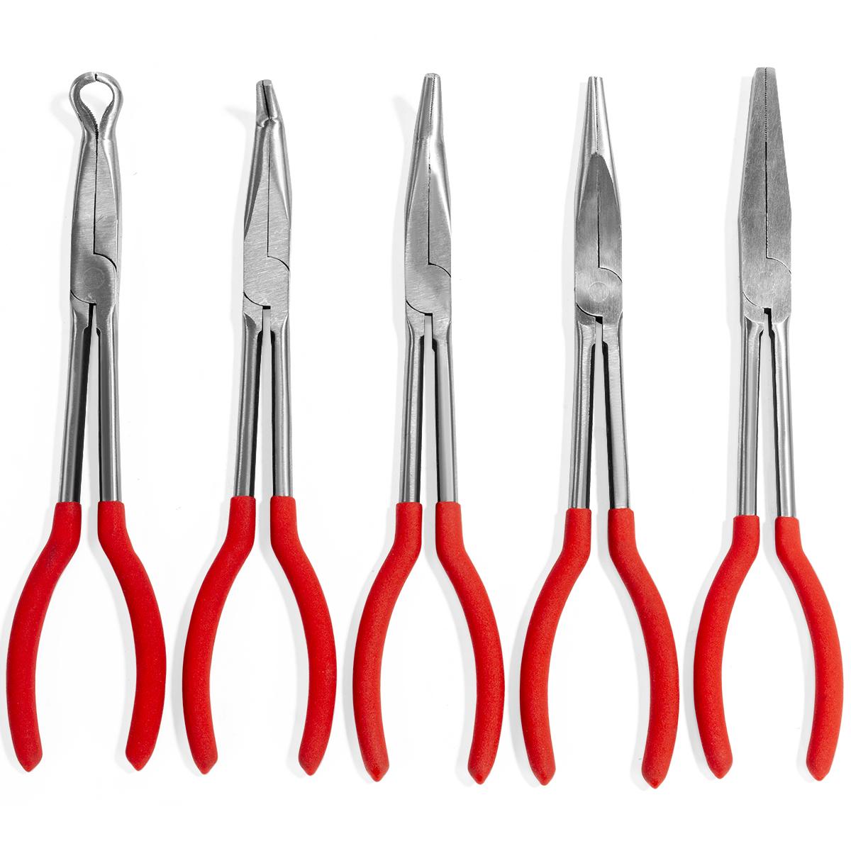 "5pc 11/"" Industrial Long Reach Plier Set Non Slip Soft Grip Handles DIY Tools Car"